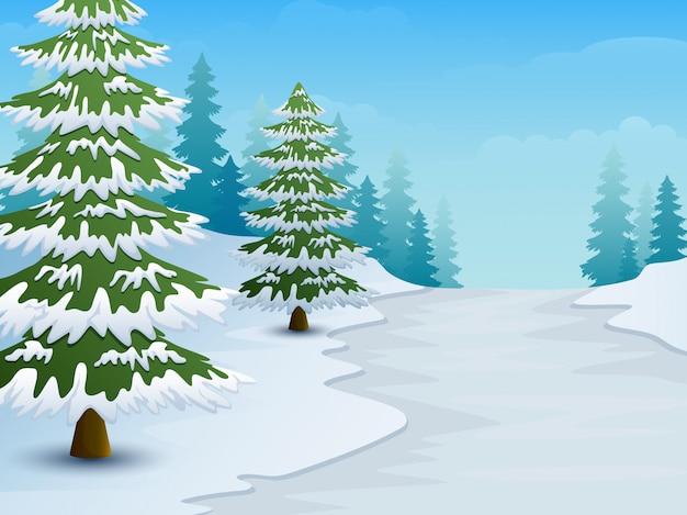 Dibujos animados de paisaje invernal con suelo nevado y abetos