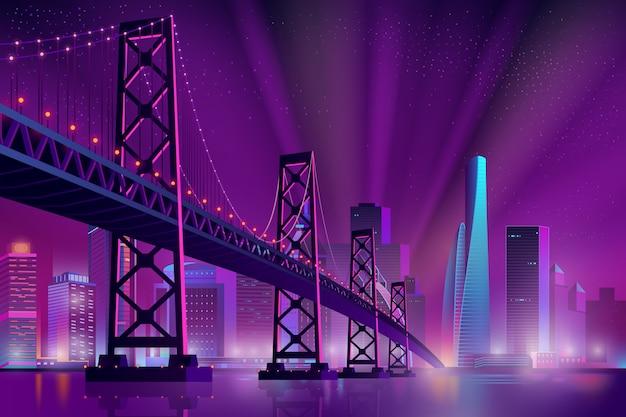 Dibujos animados de paisaje nocturno metrópolis moderno
