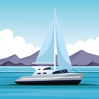 Dibujos animados paisaje velero