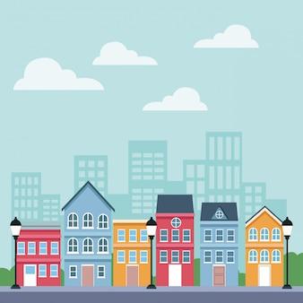 Dibujos animados de paisajes de la ciudad
