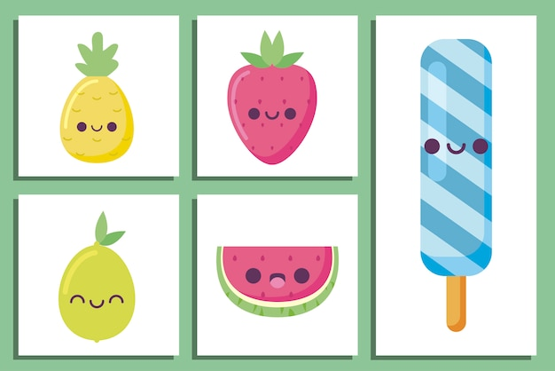 Dibujos animados de paletas y frutas kawaii