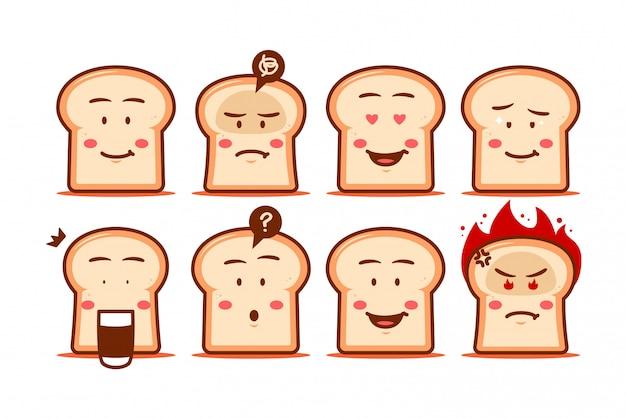 Dibujos animados de pan emoji cara smiley expresión conjunto carácter lindo estilo divertido