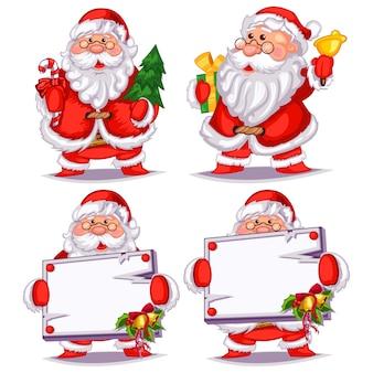 Dibujos animados de papá noel con un árbol de navidad, regalo, campana, bastón de caramelo y espacio en blanco vacío.