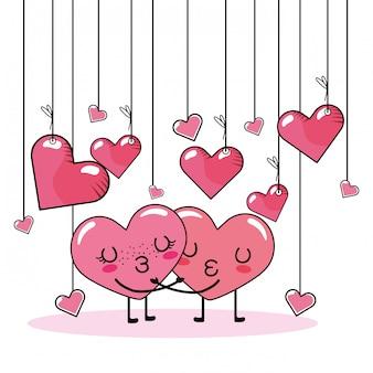 Dibujos animados de pareja amor corazón