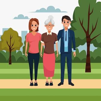 Dibujos animados pareja y anciana en el parque