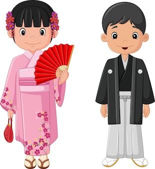 Dibujos animados pareja japonesa vistiendo traje tradicional