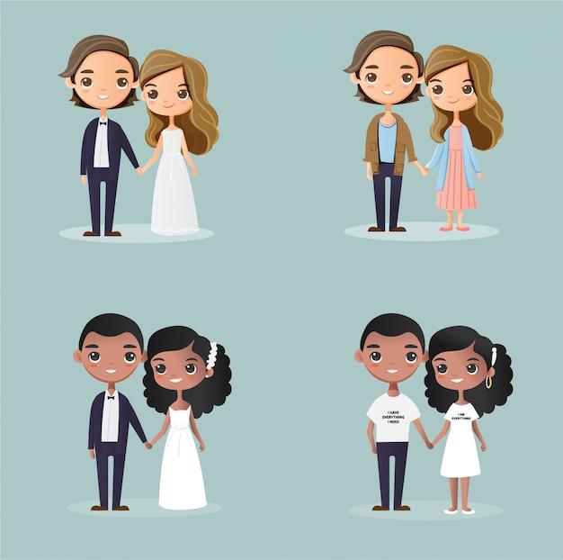 Dibujos animados de pareja de tono de piel de variedad linda para diseño de tarjeta de invitación de boda