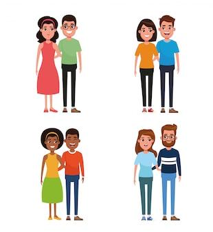 Dibujos animados de parejas jóvenes