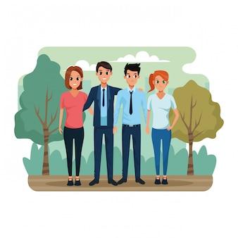 Dibujos animados parejas en el parque, colorido
