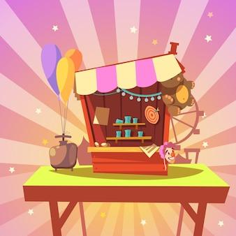 Dibujos animados de parque de atracciones con galería de tiro con premios en estilo retro de fondo abstracto