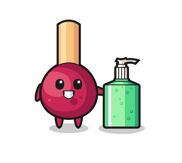 Dibujos animados de partidos lindos con desinfectante de manos, diseño de estilo lindo para camiseta, pegatina, elemento de logotipo
