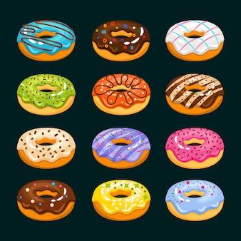 Dibujos animados de pastel de rosquilla. ilustración de donuts surtidos de chocolate. buñuelo de desayuno sabroso, fresco y delicioso buñuelo