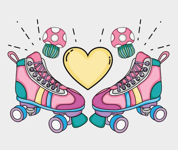 Dibujos animados de patines del arte pop