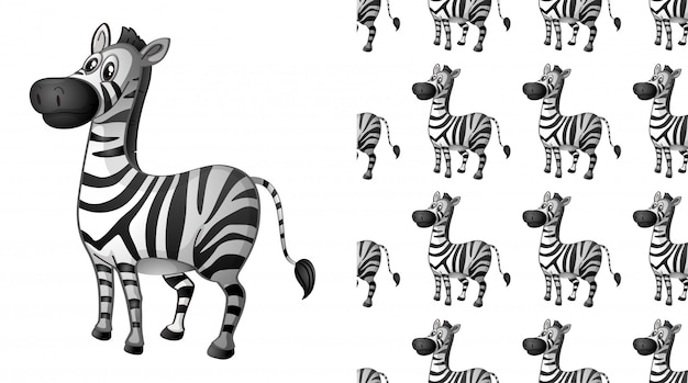 Dibujos animados de patrón animal cebra sin costura