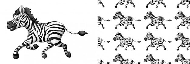 Dibujos animados de patrón animal cebra