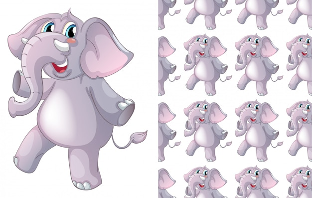 Dibujos animados de patrón animal elefante aislado