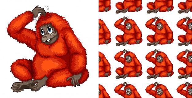 Dibujos animados de patrón animal mono sin costuras