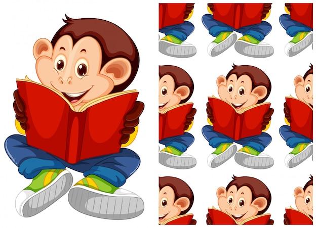 Dibujos animados de patrón animal mono de estudiante