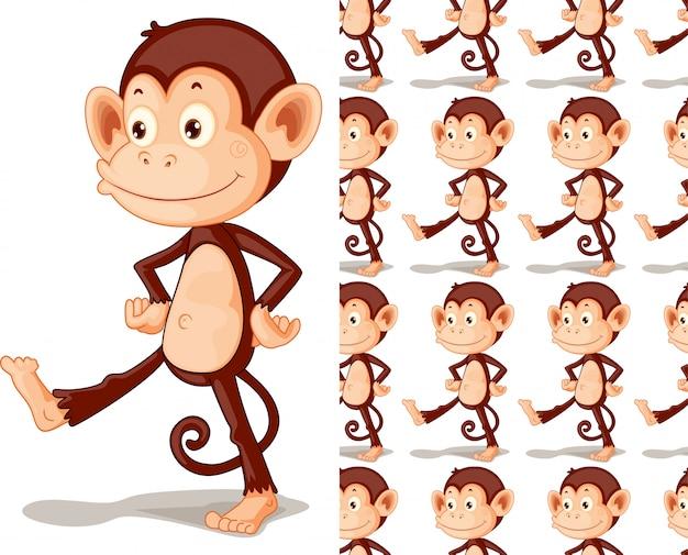 Dibujos animados de patrón animal mono