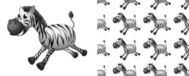 Dibujos animados de patrón de cebra sin costura