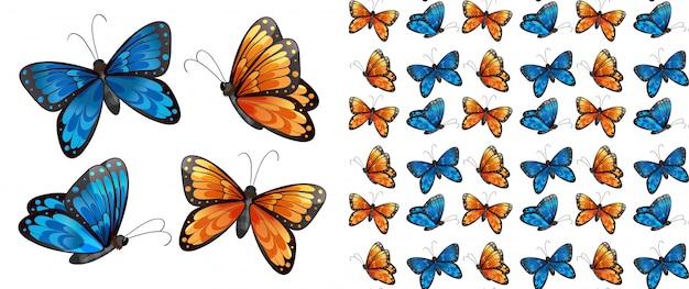 Dibujos animados de patrón de mariposa aislado