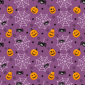 Dibujos animados de patrones sin fisuras feliz halloween araña, telaraña y calabaza aislado en púrpura.