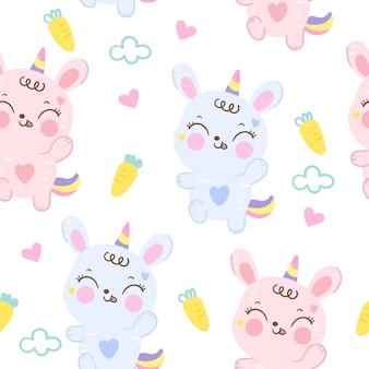 Dibujos animados de patrones sin fisuras lindo conejo conejito