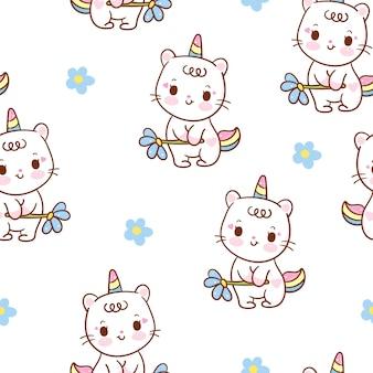 Dibujos animados de patrones sin fisuras lindo gato unicornio