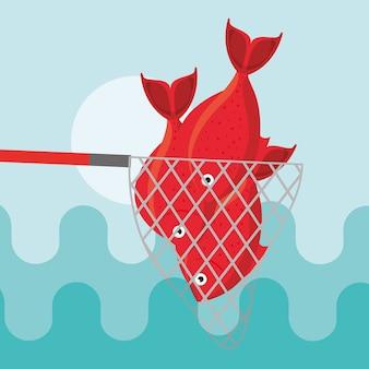 Dibujos animados de peces de pesca