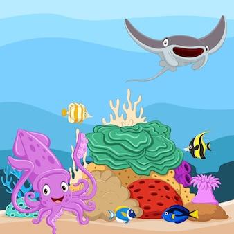 Dibujos animados de peces tropicales y hermoso mundo submarino con corales