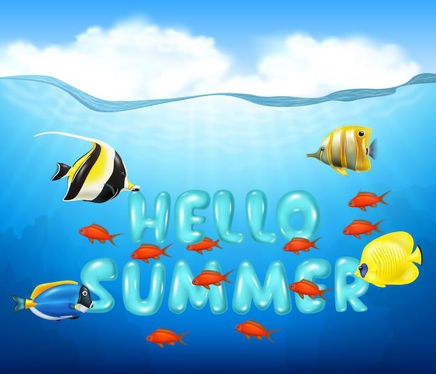 Dibujos animados de peces tropicales con hermoso mundo submarino