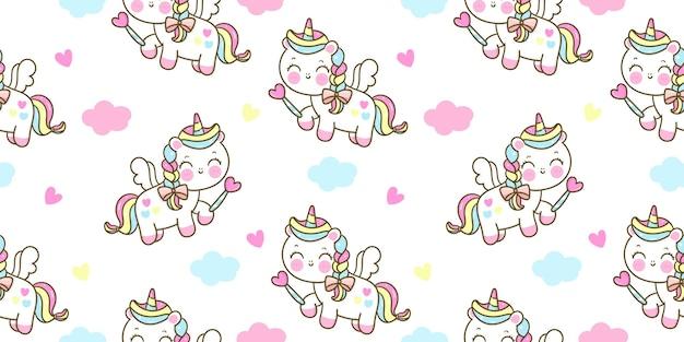 Dibujos animados de pegaso lindo unicornio de patrones sin fisuras con varita mágica kawaii animal