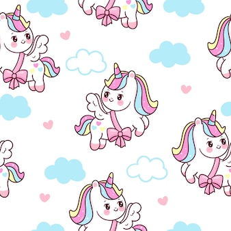 Dibujos animados de pegaso unicornio de patrones sin fisuras con animal de nube kawaii