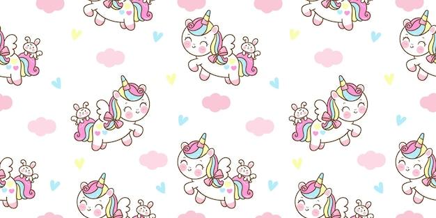 Dibujos animados de pegaso unicornio de patrones sin fisuras con conejito kawaii animal