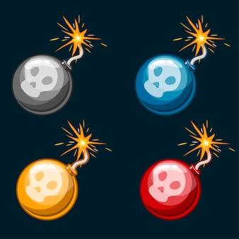 Dibujos animados peligrosas bombas multicolores