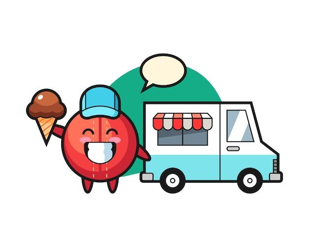 Dibujos animados de pelota de cricket con camión de helados