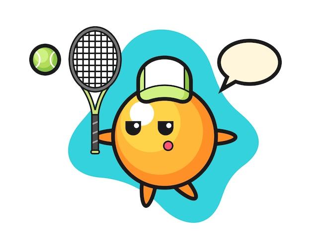 Dibujos animados de pelota de ping pong como tenista