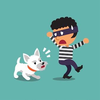 Dibujos animados de un pequeño perro y ladrón
