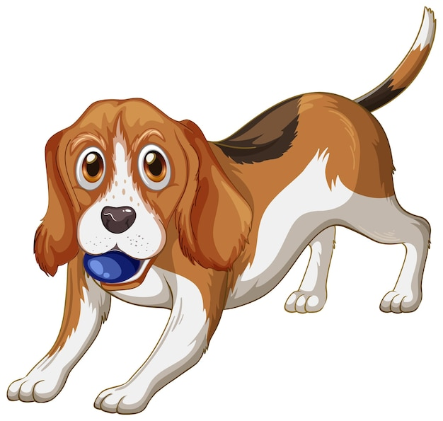 Dibujos animados de perro beagle sobre fondo blanco