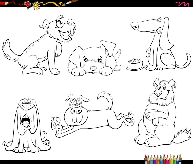 Dibujos animados de perros animales personajes establecidos página de libro para colorear