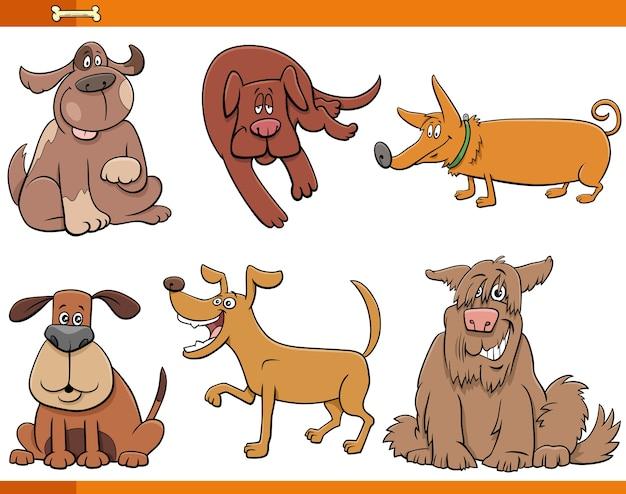 Dibujos animados de perros y cachorros conjunto de personajes de animales