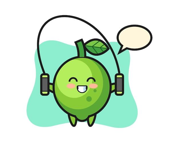 Dibujos animados de personaje de cal con saltar la cuerda, estilo lindo, etiqueta engomada, elemento del logotipo