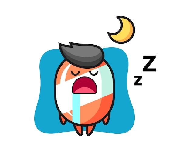 Dibujos animados de personaje de caramelo durmiendo en la noche