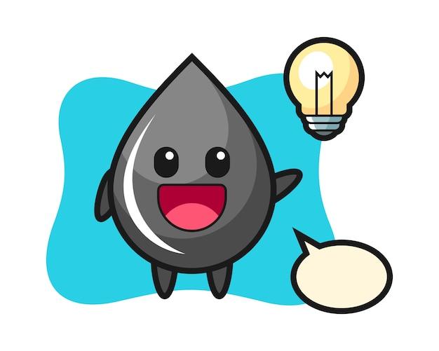 Dibujos animados de personaje de gota de aceite entendiendo la idea