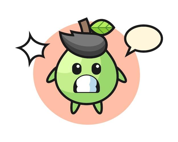Dibujos animados de personaje de guayaba con gesto sorprendido, estilo lindo para camiseta, pegatina, elemento de logotipo