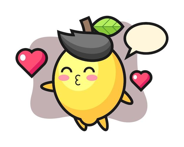 Dibujos animados de personaje de limón con gesto de besos