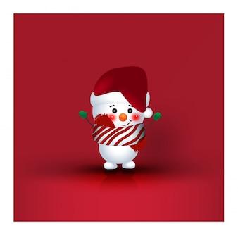 Dibujos animados de personaje de navidad muñeco de nieve