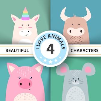 Dibujos animados de personajes animales unicornio, toro, ratón de cerdo.