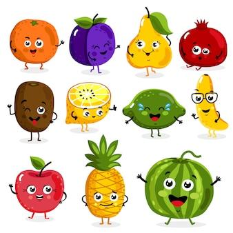 Dibujos animados de personajes divertidos de frutas aislados