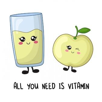 Dibujos animados de personajes kawaii de fruta de manzana y vaso de jugo fresco